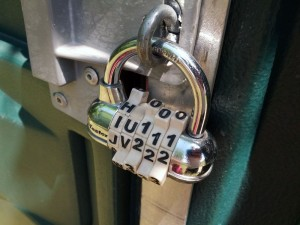 Lock affixed to the port-a-potty at Heyer-Bayer memorial park