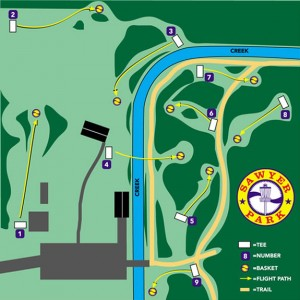 map of disc golf course showing tees and holes