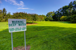 Kreag Road Park water warning sign
